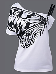 cheap -Women's Daily Going out Cute Sexy T-shirt,Print Color Block One Shoulder Short Sleeves Polyester Medium
