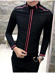 メンズ カジュアル/普段着 シャツ,ストリートファッション シャツカラー ソリッド コットン 長袖