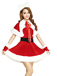 Santa Suits Cosplay Costumes Female Christmas Festival/Holiday Halloween Costumes Red Patchwork