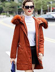Dámské Standardní Dlouhý kabát Jednoduchý Wear to work Běžné/Denní Jednobarevné-Kabát Polyester Dlouhý rukáv