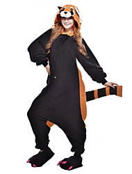 cheap -Kigurumi Pajamas Bear Raccoon Onesie Pajamas Costume Polar Fleece Black Cosplay For Adults' Animal Sleepwear Cartoon Halloween Festival /