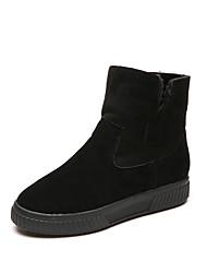 Women's Boots Fall Winter Comfort PU Casual Low Heel Zipper Black Brown Green
