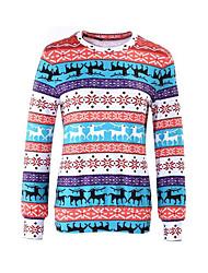 Damer Afslappet/Hverdag Sweatshirt Trykt mønster Rund hals Polyester Mikroelastisk Langt Ærme Forår/Vinter