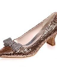 preiswerte -Damen Schuhe Paillette Frühling Sommer Pumps Hochzeit Schuhe Block Ferse Quadratischer Zeh Strass für Hochzeit Party & Festivität Gold