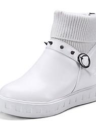 レディース 靴 PUレザー 冬 秋 コンフォートシューズ ブーツ フラットヒール ラウンドトウ リベット ベックル 用途 ホワイト ブラック