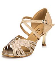 cheap -Women's Latin Sparkling Glitter Sneaker Indoor High Heel Gold Blue Customizable