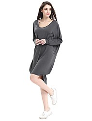 Women's To-Go Casual/Daily Simple Cute Active Sexy Loose Dress,Solid Round Neck Knee-length Long Sleeve Cotton Spandex Winter Mid Rise