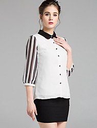 cheap -Women's Daily Street chic Blouse,Color Block Shirt Collar 3/4 Length Sleeve Polyester