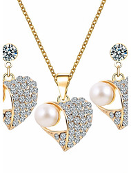 cheap -Women's Rhinestone Imitation Pearl Pearl Alloy Heart Elegant Sweet Birthday Daily Earrings Necklaces Costume Jewelry