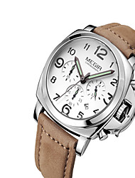 cheap -MEGIR Men's Wrist Watch Calendar / date / day / Luminous / Cool Leather Band Casual / Fashion Black / Brown
