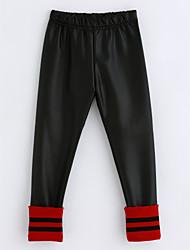 cheap -Girls' Striped Pants, Cotton Winter Black