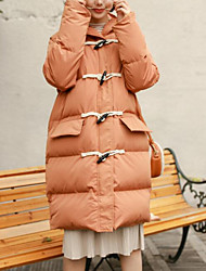 Women's Long Padded Coat,Cute Active Daily Wear Going out Solid-Cotton Long Sleeves