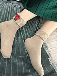Недорогие -Жен. Трикотаж Теплые Носки,Шерсть Однотонный 2шт Коричневый Хаки