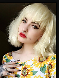 cheap -Synthetic Wig Curly / Wavy Blonde Bob Haircut / With Bangs Synthetic Hair Natural Hairline Blonde Wig Women's Short Capless Light Blonde