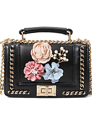 cheap -Women Bags PU Tote Appliques for Casual All Season White Black Blushing Pink