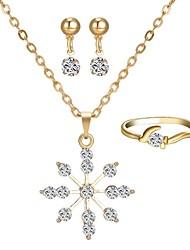 preiswerte -Damen Strass Diamantimitate Schneeflocke Schmuck-Set 1 Halskette / 1 Ring / Ohrringe - Klassisch / Modisch Gold Tropfen-Ohrringe /