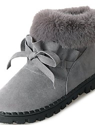 cheap -Women's Shoes PU Winter Comfort Fashion Boots Fur Lining Boots Round Toe Booties/Ankle Boots for Casual Black Gray