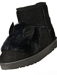 economico -scarpe da donna cashmere stivali da neve invernali stivali null tacco basso punta rotonda stivali a metà polpaccio piuma per casual