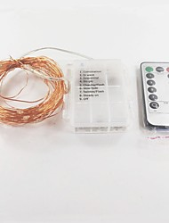 cheap -10m String Lights 100 LEDs White Remote Control / RC Battery 1pc / IP65
