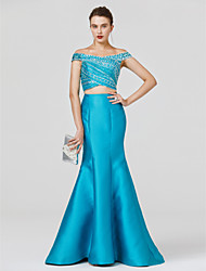 cheap -Mermaid / Trumpet Off Shoulder Floor Length Satin / Jersey Cocktail Party / Prom / Formal Evening Dress with Beading / Criss Cross by TS Couture®