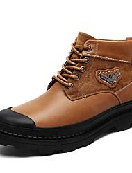 Недорогие -Муж. обувь Дерматин Кожа Зима Осень Удобная обувь Ботинки для Повседневные Черный Темно-русый