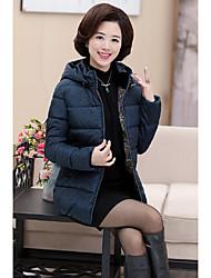 Dámské Standardní Dlouhý kabát Jednoduchý Běžné/Denní Jednobarevné-Kabát Bavlna Šetrný k životnímu prostředí Polyester Dlouhý rukáv