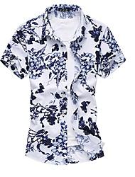 Masculino Camisa Social Casual Tamanhos Grandes Sensual Outono Verão,Floral Algodão Poliéster Decote Quadrado Manga Curta Média