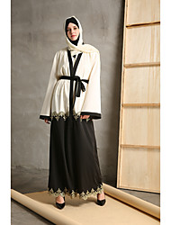 cheap -Women's Party Daily Wear Casual Kaftan Dress,Color Block Patchwork Stitching Lace Round Neck Maxi Long Sleeve Polyester Elastane All