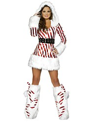 cheap -Santa Claus Outfits Women's Christmas Festival / Holiday Halloween Costumes Red Striped