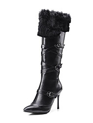 cheap -Women's Shoes Leather Winter Comfort Novelty Fashion Boots Bootie Boots Booties/Ankle Boots Buckle For Wedding Casual Black White