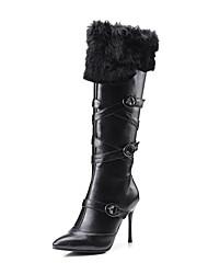 preiswerte -Damen Schuhe Leder Winter Modische Stiefel Stiefeletten Komfort Neuheit Stiefel Booties / Stiefeletten Schnalle Für Hochzeit Normal Weiß