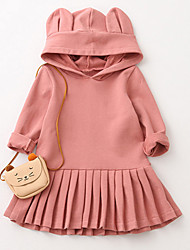 cheap -Girl's Daily Going out Solid Dress, Cotton Fall Long Sleeves Casual Blushing Pink