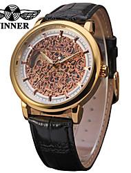 WINNER Homens Relógio Elegante Relógio de Pulso relógio mecânico Mecânico - de dar corda manualmente Gravação Oca Couro Banda Luxo Vintage