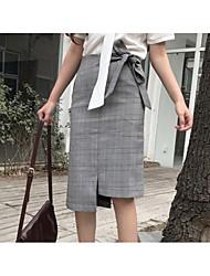 cheap -Women's Dailywear Work Knee-length Skirts A Line Solid Fall