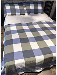 cheap -Contemporary 4 Piece Linen/Cotton Yarn Dyed Linen/Cotton 1pc Duvet Cover 2pcs Shams 1pc Flat Sheet
