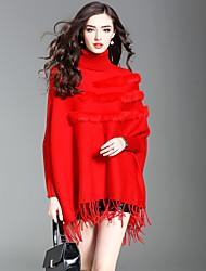 Feminino Suéter Para Noite Casual Moda de Rua Outono Inverno,Sólido Pêlo de Coelho Poliéster Fibra Sintética Gola Alta Manga Longa Média
