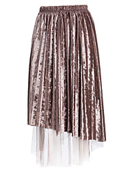 abordables -Mujer Algodón Columpio Faldas - Malla, Un Color / Otoño / Invierno