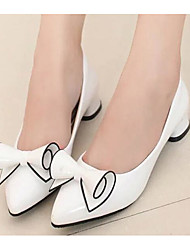 cheap -Women's Shoes PU Spring Fall Comfort Heels For Casual Red Black White