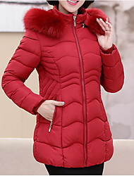 Dámské S vycpávkou Jednoduchý Běžné/Denní Jednobarevné-Kabát Bavlna Dlouhý rukáv