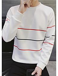 preiswerte -Herren Pullover Ausgehen Lässig/Alltäglich Gestreift Rundhalsausschnitt Mikro-elastisch Polyester Langarm Winter Herbst