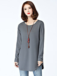 cheap -Women's Daily Vintage Winter Fall T-shirt,Solid Round Neck Long Sleeves Cotton Polyester Thick