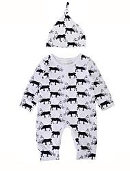baratos -bebê Para Meninos Peça Única Estampa Animal Inverno Primavera/Outono Algodão Manga Longa Estiloso Uma Peça Casual Branco