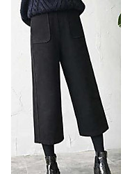 cheap -Women's Mid Rise Inelastic Wide Leg Pants,Active Street chic Solid Linen Others Fall