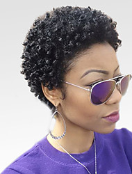 cheap -Women Human Hair Capless Wigs Black Short Kinky Curly Afro Jerry Curl African American Wig