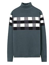 Normal Pullover Homme Sport & Loisir Usage quotidien simple,Couleur Pleine Col Roulé Manches Longues Rayonne Automne Epais Micro-élastique