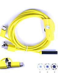economico -3 in 1 usb endoscopio videocamera di controllo borescop obiettivo 7mm 2m cavo duro impermeabile ip67 camma di serpente per pc android