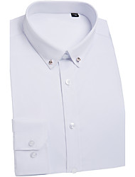 Men's Wedding Work Chinoiserie Shirt,Solid Classic Collar Long Sleeves Polyester Medium