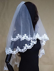 cheap -Two-tier Modern Style Bridal Princess Simple Style Wedding Modern/Contemporary Wedding Veil Elbow Veils 53 Appliques Lace Lace Tulle