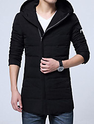 Men's Padded Coat,Casual Cotton Solid-Polyester Long Sleeves