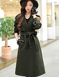 cheap -Women's Casual/Daily Work Simple Street chic Winter Coat,Solid Peak Long Sleeves Long Wool Polyester Classic